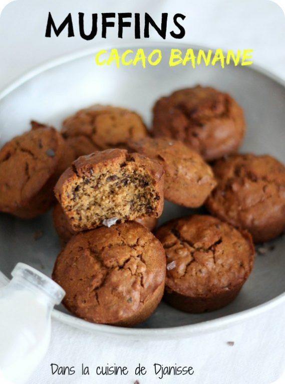 Recette végane et sans gluten : muffins cacao et banane