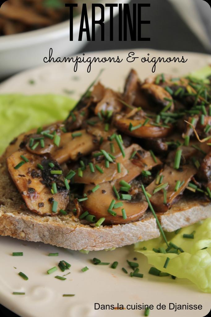 Tartines aux champignons et oignons vegan
